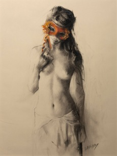 61x46 cm. Charcoal & Pastel on paper attached to board