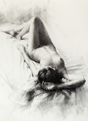 73x54 cm. Charcoal on paper attached to board