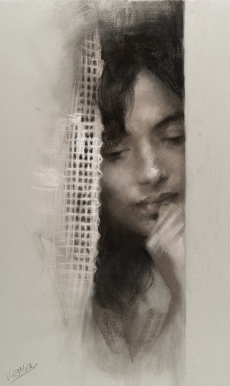 50x30 cm. Charcoal & Pastel on paper attached to board