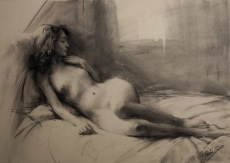 61x46 cm. Charcoal on paper attached to board