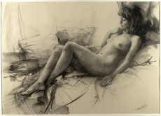 70x50 cm. Charcoal on paper attached to board