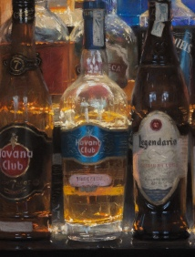 """The bottles that illuminate the night #1"". 65x50 cm. Pastel on Hahnemühle Lana paper. Detail 1"