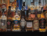 """The bottles that illuminate the night #1"". 65x50 cm. Pastel on Hahnemühle Lana paper"